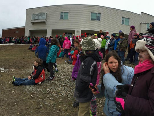 A panorama photo of the Hinesburg Community School walkathon to benefit the Bissonette Field Project. Students ended up raising around $5,000 for the project.