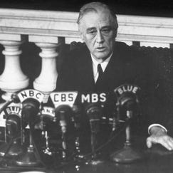 """As seen in """"The Roosevelts: An Intimate History,"""" President Franklin D. Roosevelt in March 1945, shortly before his death, reports to Congress on the Yalta Conference."""