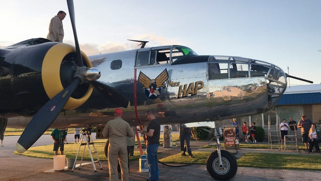 """The """"Miss Hap,"""" a B-25 bomber that stopped in Fremont to refuel Monday night, was the personal transport of  Gen. Henry """"Hap"""" Arnold during World War II."""
