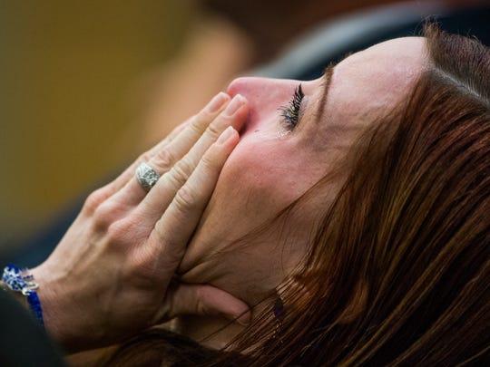 Tanisha Sorenson, sister of Travis Alexander, sobs