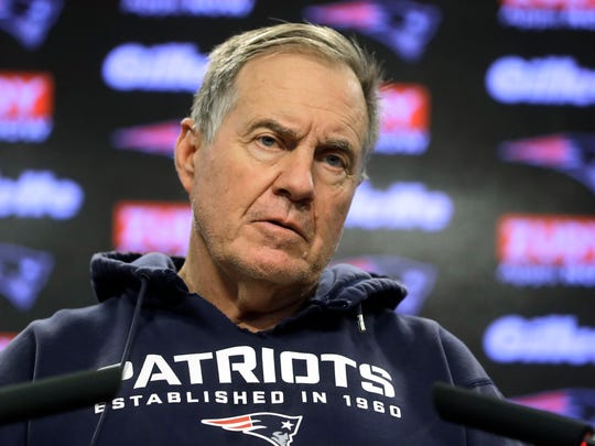 New England Patriots head coach Bill Belichick takes questions from reporters before an NFL football practice, Wednesday, Nov. 20, 2019, in Foxborough, Mass. (AP Photo/Steven Senne)
