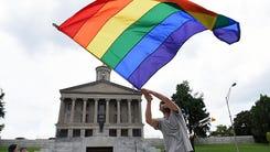 Christopher Shappley celebrates at Legislative Plaza