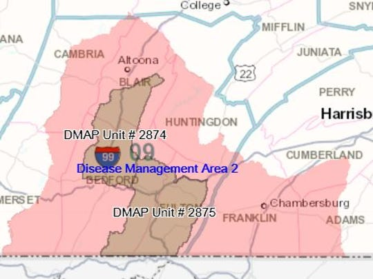 Most of Franklin County is part of Disease Management Area 2, which restricts the handling of harvested deer.