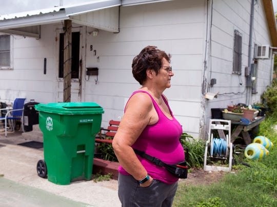 Janet Mock has rented a home Aransas Pass for about 20 years. The area where she lives, not far from what was once considered a levee, is prone to flooding.