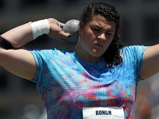 Dani Bunch competes in the Women's Shot Put Final during