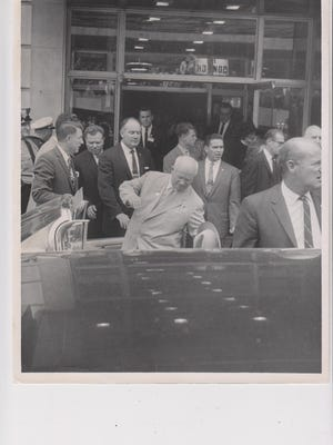 Russian politician Nikita Khrushchev leaves the Hotel Fort Des Moines in 1959.