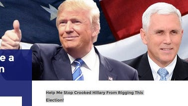 """Republican nominee invites supporters on his webpage to volunteer to be election observers to stop his opponent from """"rigging"""" the November elections."""