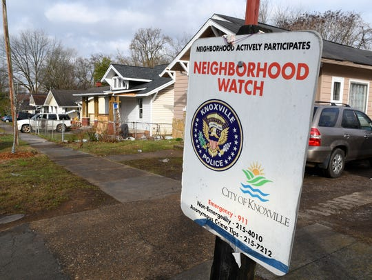 A neighborhood watch sign inside the East Knoxville Parkridge neighborhood.