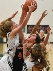 Novi Wildcat Anna Biberstein tries to keep a rebound