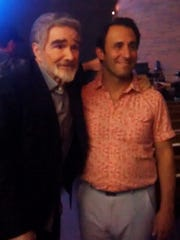 """Rabbi Alon Ferency of Heska Amuna Synagogue with Burt Reynolds on the set of """"The Last Movie Star"""" filmed in Knoxville."""
