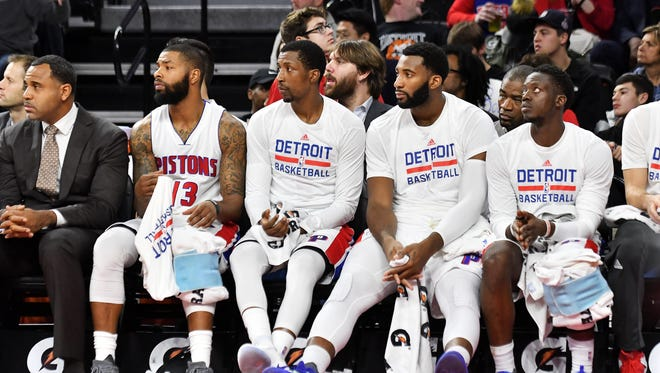 """""""We felt like there was a lot of tension because we just added Reggie (Jackson) back so we had to come to grips with the way he plays,"""" said Andre Drummond, second from right."""