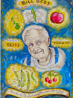 Artwork of Kentucky seed saver Bill Best created by artist Amy Campbell-Rochelson