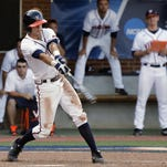 Virginia's Ernie Clement gets the winning hit against Maryland in the bottom of the ninth inning of a super regional of the NCAA college baseball tournament on June 6, 2015.