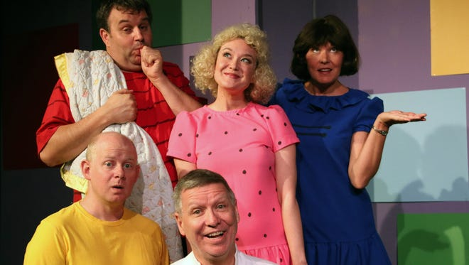 The cast of the June 2014  Fountain Hills Theater production of 'You're a Good Man, Charlie Brown.' Standing (from left): Gary Caswell, Jessica Godber Graham and Kathleen Berger. Kneeling (from left): Chad Campbell and Peter J. Hill.