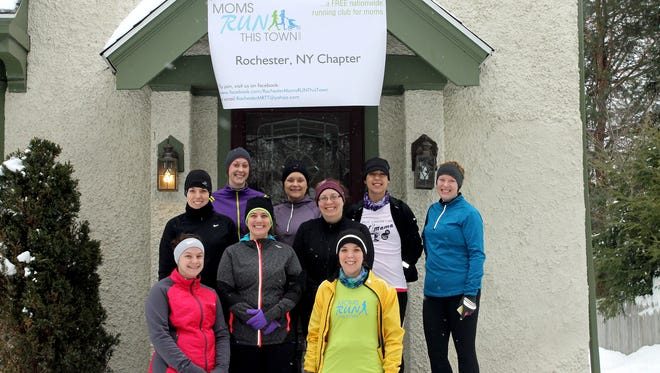 Mom RUN This Town group photo after a recent run.