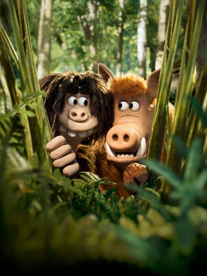 Dug (voiced by Eddie Redmayne) and Hognob (Nick Park) prepare to make their move in 'Early Man.'