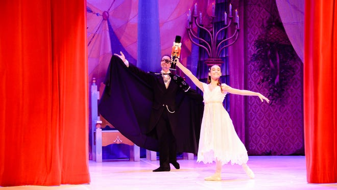 """Marshal Levin, left, and Aleana Perez as Heir Drosselmeyer and Clara in this year's presentation of """"The Nutcracker"""" by the Treasure Coast Youth Ballet."""