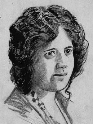 """A sketch of Imogene Remus, wife of """"Bootleg King"""" George Remus. George Remus shot her to death in Eden Park on Oct. 6, 1927. In a sensational trial that received national attention, Remus, who acted as his own attorney, was found not guilty by reason of insanity."""