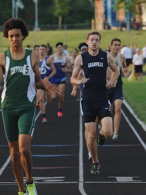 Granville junior Jonny Lukins crosses the finish line in fourth place in the 800 this past Friday during the Division I regional meet to qualify for the state meet.