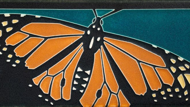 """Monarch Butterfly,"" clay tile by Nawal Motawi, part of the ""Gifts From the Heart"" art show from Sept. 24 to Oct. 30 at Edgewood Orchard Galleries."