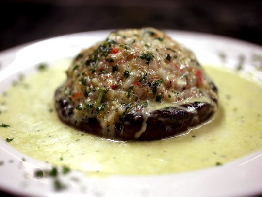 Stuffed portobello with fresh shrimp and crab meat in a creamy pesto sauce at Vinnie's Pizzeria & Ristorante grand opening on Main Street in Boonton. August 5, 2016, Boonton, NJ