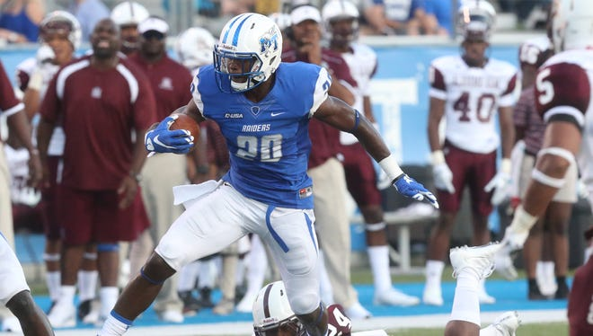 MTSU's Dennis Andrews (20)  has filled in MTSU's offense this season after transferring from Georgia Tech.