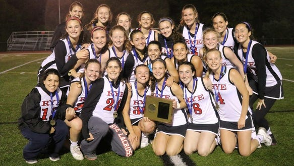 2017 Rye girls lacrosse team after winning Section