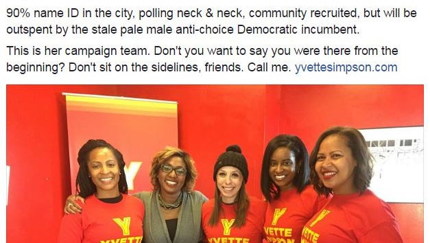 """Political strategist Jessica Byrd, far right, called Cincinnati Mayor John Cranley a """"pale male"""" in a Facebook post last week. Mayoral candidate Yvette Simpson's campaign identified Byrd as a """"campaign volunteer."""""""