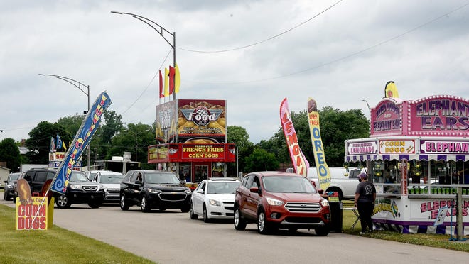 The first Fair Food Drive-Thru at the Monroe County Fairgrounds in June.