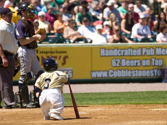 The York Revolution's Dave Flood makes his way to the plate for his first and only at-bat during an exhibition game in 2009.