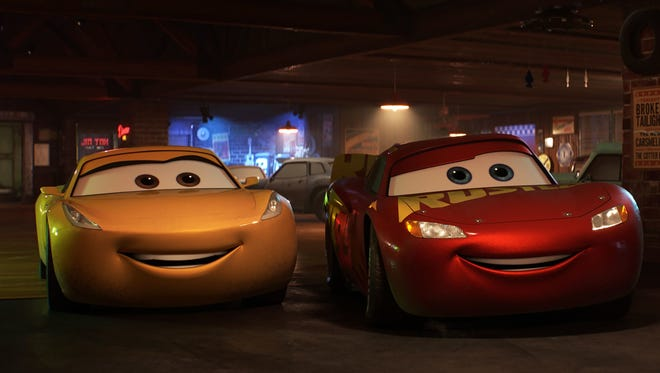Cruz Ramirez (left voiced by Cristela Alonzo) and Lightning McQueen (Owen Wilson) were a formidable duo in 'Cars 3.'