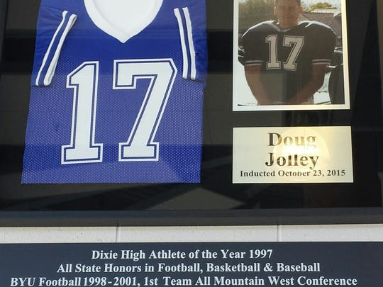 On Oct. 23, 2015, Dixie High School retired Doug Jolley's jersey. The three-sport athlete at DHS went on to play in the NFL and took part in Super Bowl XXXVII.