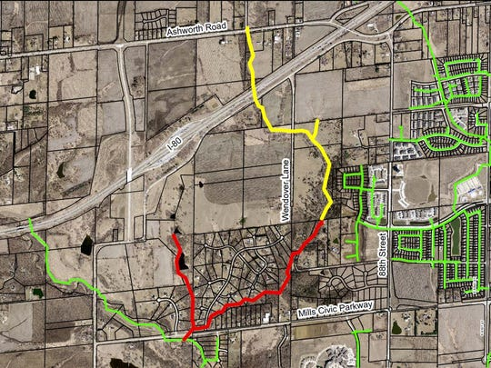 The red and yellow lines show a new sewer line along Fox Creek to serve residents in the far northwest side of West Des Moines and into Waukee.