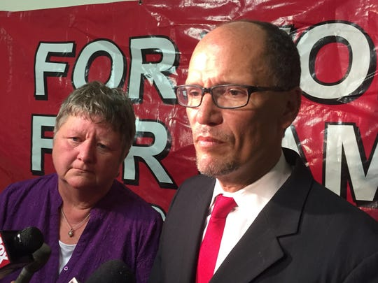 President of SEIU Healthcare Michigan Marge Robinson and U.S. Secretary of Labor Thomas Perez talk about meeting with Detroit workers who advocate raising the minimum wage to $15 an hour at the Central United Methodist Church in Detroit on Tuesday, Aug. 25, 2015.