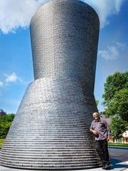 """Artist Kerry James Marshall and his downtown Des Moines sculpture,""""A Monumental Journey."""""""