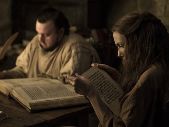 Samwell Tarly (John Bradley), left, and Gilly (Hannah Murray) look for information to fight White Walkers on HBO's 'Game of Thrones.'