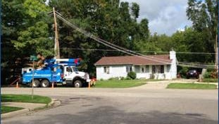 Consumers Energy working Sunday to restore power knocked out by thunderstorms on Friday.