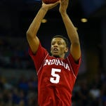 Indiana's Troy Williams drives to the basket during a game against Wisconsin on Feb. 3 in Madison, Wisc.