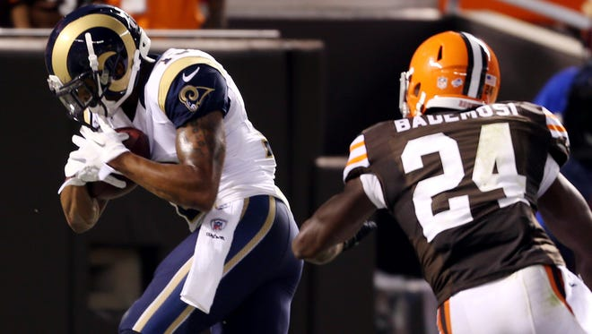 Rams wide receiver Chris Givens hauled in this touchdown pass against the Browns in the preseason opener.