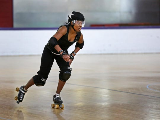 March 6, 2016. Rollergirls, Derby, anniversary, skates, Liz Dufour