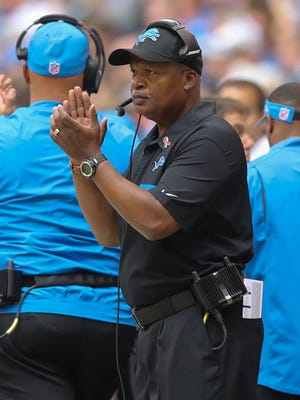 Detroit Lions head coach Jim Caldwell on the sidelines during the first half against the Indianapolis Colts on Sunday, Sept. 11, 2016 at Lucas Oil Stadium.