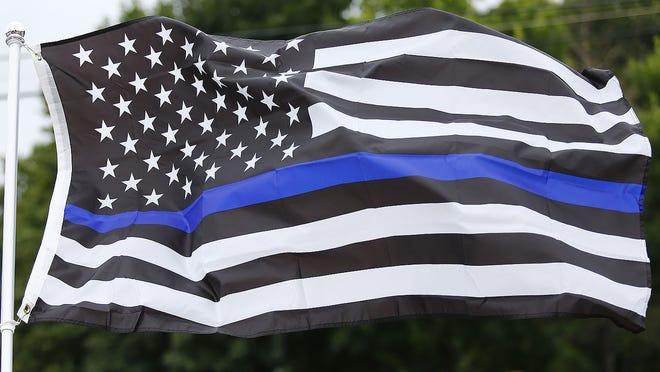 Thin Blue Line flag on Sunday August 16, 2020 Greg Derr/The Patriot Ledger