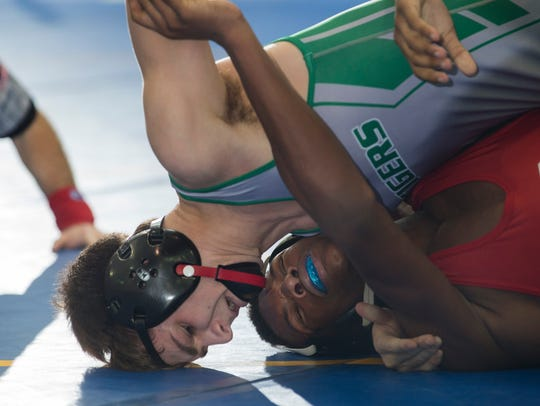 South Plainfield's Joe Sacco works on backpoints against