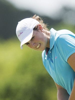 Fort Myers' Hallianne Hobson, shown during Wednesday's first round, fired a 3-under-par 69 to grab the second-round lead in the girls division at the Nolan Henke/Patty Berg Junior Masters on Thursday, July 21, 2016 at River Hall Country Club in Alva.