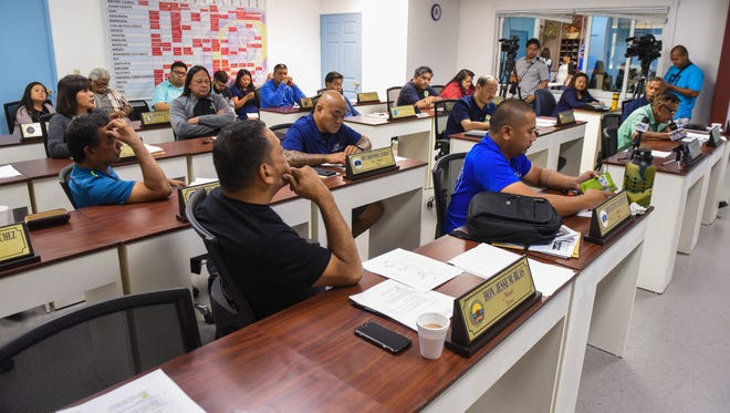 Village leaders gather during a Mayors' Council of Guam meeting in Hagåtña on Wednesday, June 7, 2017. Executive Director Angel Sablan council members that in light of limited funds available for upcoming Liberation celebration, Gov. Calvo has expressed his support and the assistance of government agencies needed to execute this year's festivities.