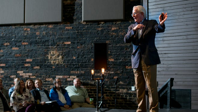 Tom Murphy, a former Pittsburgh mayor, talks about public-private partnerships during a CivicCon forum on Monday, Feb. 12, 2018, at the REX Theatre in downtown Pensacola.