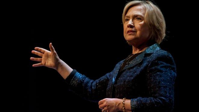 Former Secretary of State Hillary Rodham Clinton speaks to a crowd in Saskatoon, Saskatchewan on Wednesday, Jan. 21, 2015.