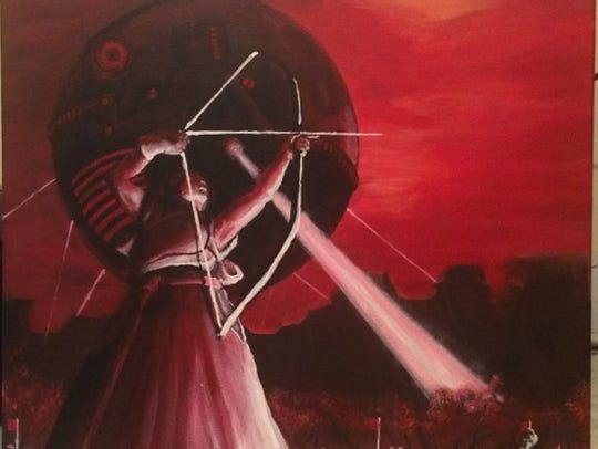 """Archery Competition, Neo-Tokyo"" represents dusk through"