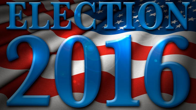The words Election 2016 over the flag of the United States.
