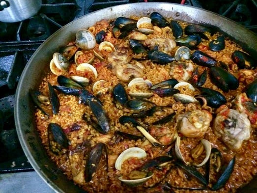 A pan of paella from Time to Eat in Cape Coral.